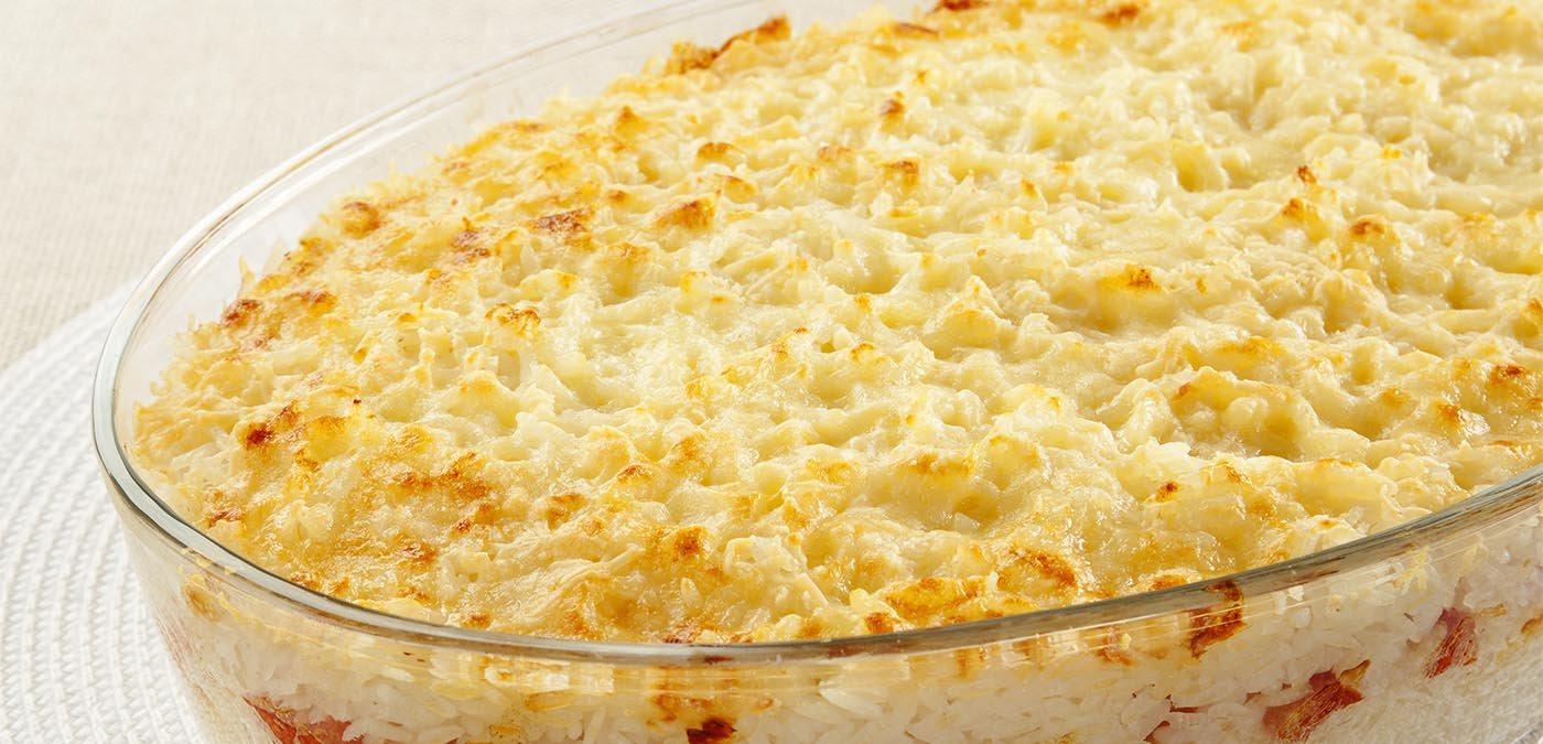 arroz de forno aos três queijos para o almoço de dia das mães