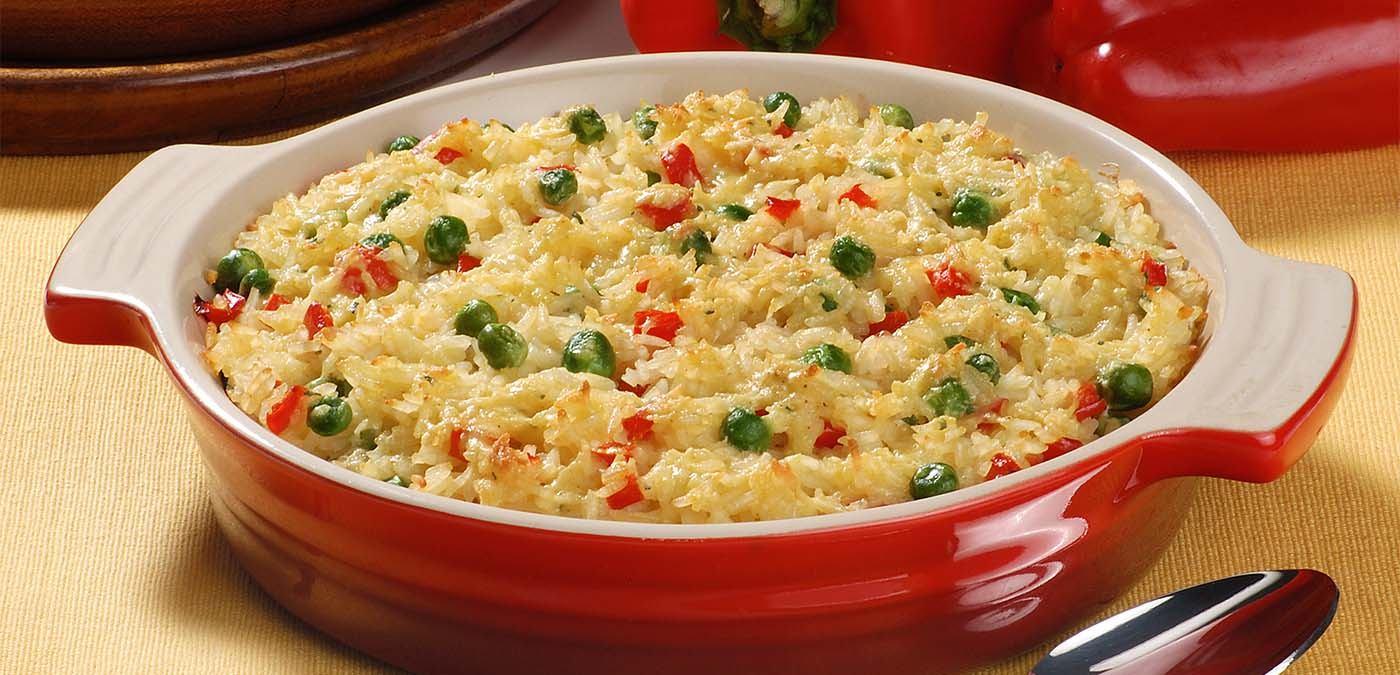 arroz gratinado para o almoço de dia das mães