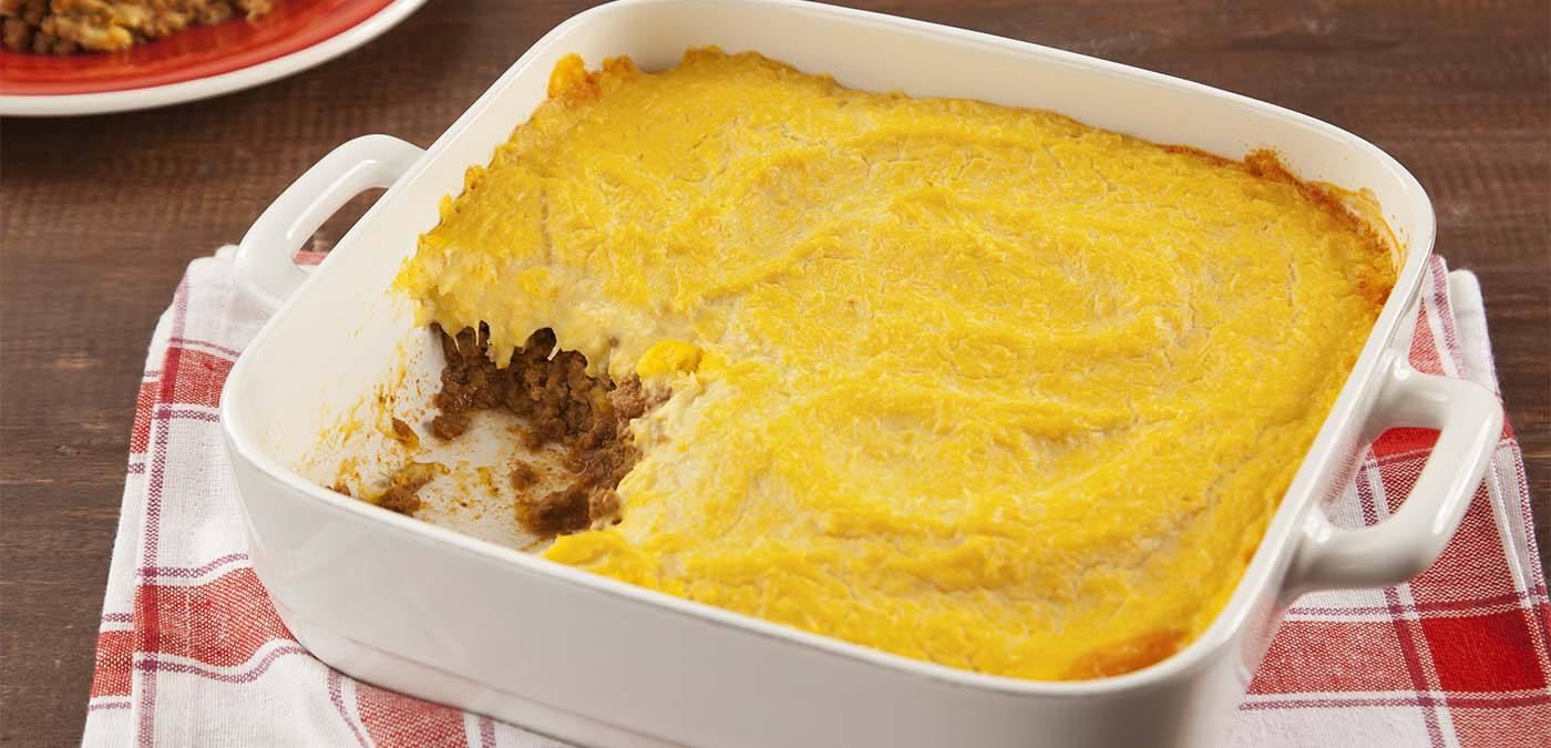 escondidinho de carne com creme de milho para o almoço de domingo de dia dos pais
