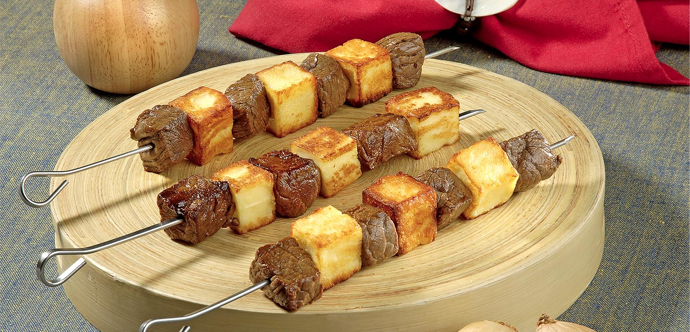 receita de festa junina espetinhos de carne com queijo