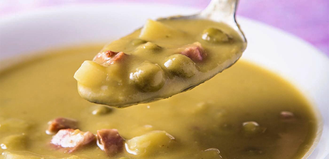 receita de sopa para o inverno cremosa de ervilhas à calabria